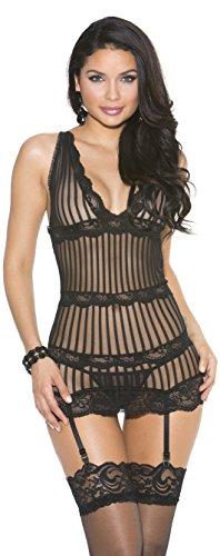 Shirley of Hollywood Nummer 25492kleinen schwarzen Streifen Mesh und Stretch Lace Chemise (Chemise Shirley Lace)