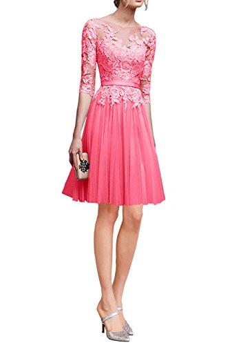 Victory Bridal Hochwertig Rosa Spitze Langarm Abendkleider Ballkleider Partykleider Festlichkleider Lang Wassermelon-Mini