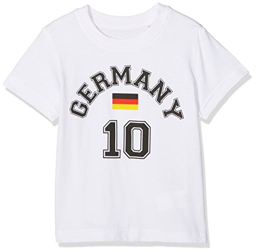 FABTASTICS Jungen Germany - Tee Kids T-Shirt, per Pack Weiß (Weiss Weiss), 128 (Herstellergröße: 128)
