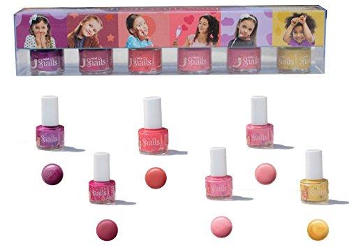 Snails 6Mini Pack Nagellack Wasser rosa/Purpur/pfirsichfarben/Rosa Hellblau glänzend/rot kirschrot/Gold 7ml