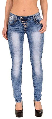 by-tex Damen Röhrenjeans Damen Skinny Jeans High Waist Damen Jeans Jeanshose Damen Röhren Hose # S500