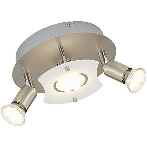 Briloner Leuchten 3499–032a +,–Lámpara LED de techo, 3x LED GU10, 3W, 250lm, vidrio parcialmente mate, redondo, metal, níquel mate, 20x 20x