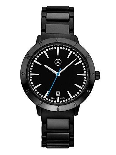 Mercedes-Benz, Wrist watch Ladies, Mercedes-Benz, Black Edition Black / blue, Stainless steel and Swarovski Crystals
