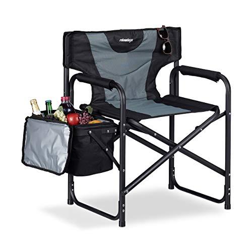Relaxdays Regiestuhl, klappbarer Campingstuhl mit Kühltasche, ideal für Garten, Festival & Angeln, 110 kg, schwarz-grau
