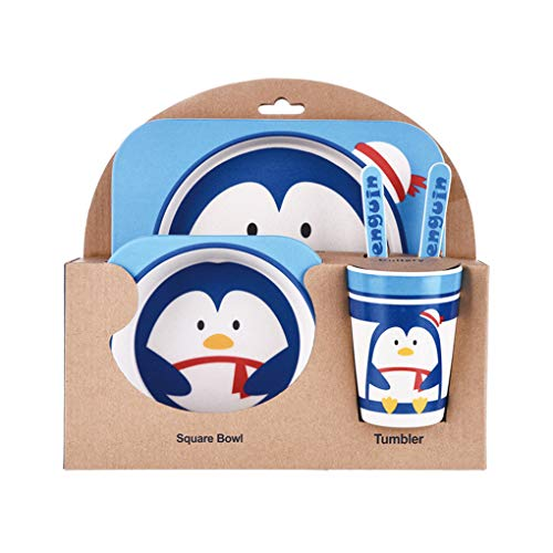 Demino Kinder-Geschirr-Set 5er Baby-Bambusfaser-Cartoon Bowl Tier Geschirr Set Kleinkind-Cup-Löffel-Gabel Pinguin Plate: 21.5 * 21.5cm
