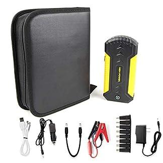Arrancador de Coches de Coche Powerbank para hasta 5, 0L Gasolina o 3L Diesel, 600A 12000mAh 12V IP68 Impermeable con Carga Rápida QC3.0 4 USB Linterna LED