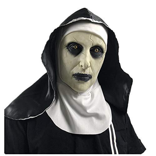 KVBJHNU Die Nonne Latex Maske Mit Kopftuch Kruzifix Gesichtsmasken Scary Cosplay Fiesta Horror Mascara Cross