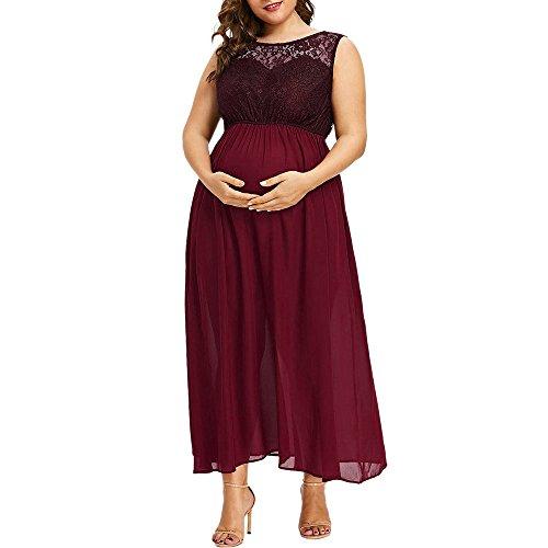 Langen Rock Frauen Oansatz Plus Größe Schwangere Mutterschaft ärmellose Pflege Spitze Chiffon-Kleid Wein 4XL - Größe Plus Kleid Mutterschaft Rosa