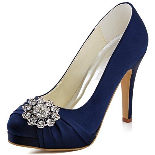 ElegantPark EP2015-PF Women Pumps Closed Toe Platform High Heel Buckle Satin Evening...