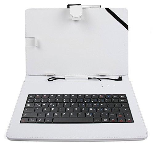 DURAGADGET weiße Tasche aus Kunstleder mit Deutscher QWERTZ Tastaturbelegung für on-The-go fähige 10 Zoll ODYS Tablets (Siehe Produktbeschreibung)