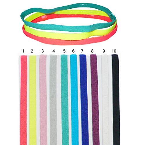 DoGeek 10 Stück Sport Stirnband Set Stirnband Yoga Atmungsakti Stirnband Sport Schweißband für Laufen, Radfahren, Yoga, Basketball - Dehnbar Feuchtigkeit Wicking Haarband (Slim, 10pcs)