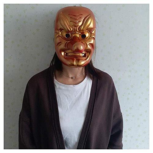 ske Horror japanischen neunten Himmel Hund Maske Teufel Prajna Maske Gesicht japanische Samurai Maske (Color : Gold) ()
