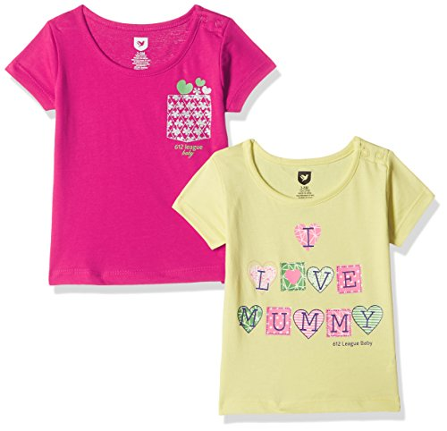 612 League Baby Girls' T-Shirt (Pack of 2) (ILS17I77001-18 - 24 Months-YELLOW)