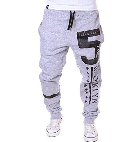 Uomini pantaloni della tuta Numero 5 Brooklyn Sport Pantaloni felpati Fitness pantaloni pantaloni della tuta pantaloni di formazione, Luce L grigio