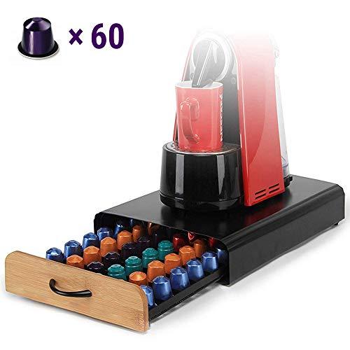 Ecooe 1198/5000 Soporte para cápsulas de café Rack de cápsulas de acero inoxidable para 60 Nespresso Dispensador de cápsulas con cajón de rejilla de superficie antideslizante