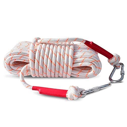 Cuerda de seguridad Nylon Bold Cuerda de escape de emergencia for el hogar Cuerda de seguridad Montañismo Cuerda de rescate Cable de acero incorporado, amarillo 12mm, 10M, 15M, 20M, 25M, 30M, 35M, 40M