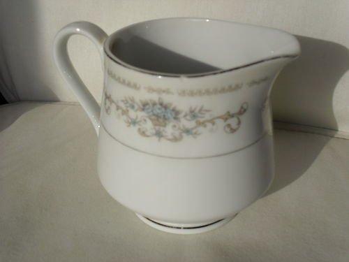 Wade Fine Porcelain China Diane Creamer Delicate Blue Floral Pattern with Silver Trim Porcelain Creamer