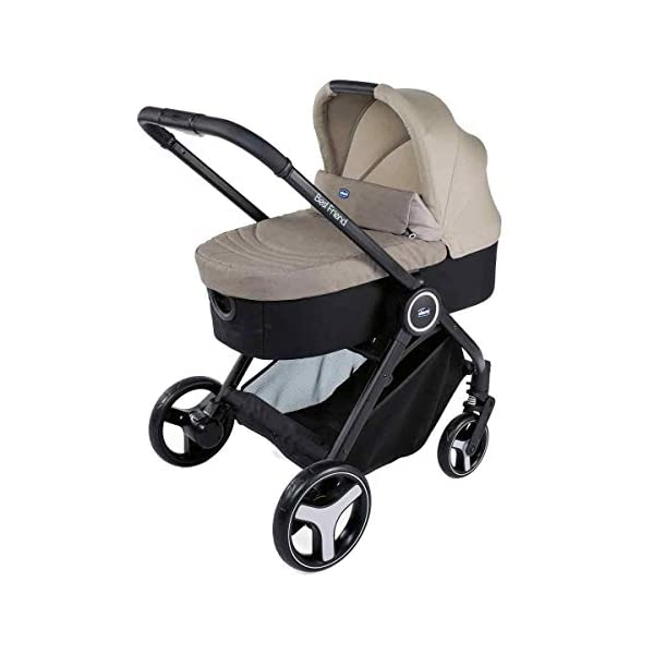 Trio Best Friend Beige 2019 Chicco A stylish and matching 3-in-1 set that is lightweight, versatile and practical Set includes Stroller Pushchair, Carrycot and Carseat Suitable for use from Birth to approx 3 years (Carrycot up to 6m / Carseat up to 13kg) 3