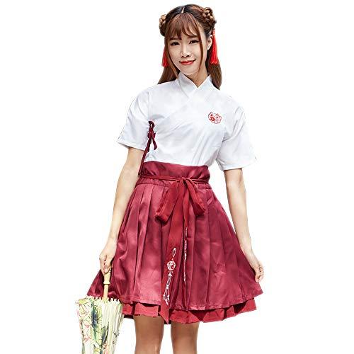 nesischen Stil Für Damen - Vintage Hanfu Tang Anzug Erwachsene Damen Frühling Und Sommer Kurzarm Rock Pure Color Anzug Student Class Kleidung Cosplay Kostüme, Dunkelrot/M ()