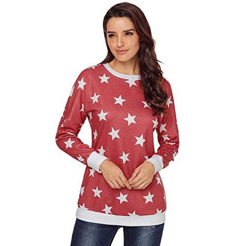 KAIDILA Auf der ganzen Star Sweatshirt Herbst und Winter Runde Hals Langarm Sterne Print Ärmel Slim T-Shirt All-Star-Sweatshirt (Hals-sterne-print)