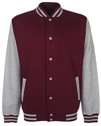 FDM Unisex Varsity Jacket Colour=Burgundy/Heather Grey Size=XS