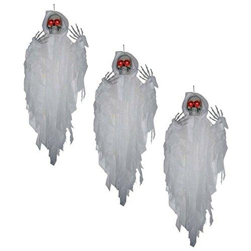 Fun Express Halloween-Dekoration zum Aufhängen, mit weißem Sensenmann, 1,2 m, 3 Stück