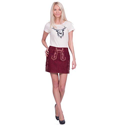 Damen Trachten Lederrock aus Ziegenveloursleder in bordeauxrot Größe 38