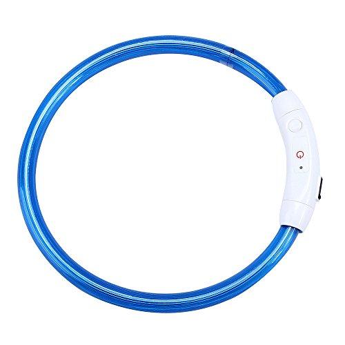EUZeo Wiederaufladbare USB Wasserdichte LED Haustierkragen Blinklicht Band Sicherheit Haustier Hundehalsband Welpe und Kätzchen Hundehalsban ()