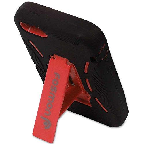 Fosmon HYBO Abnehmbar Hybride Silicone + PC Case Cover hülle mit Stund für iPhone 5/5s/SE - Schwarz Rot