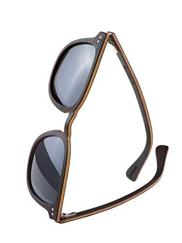WOLA Herren Sonnenbrille Holz HELIO Brille quadratisch schmale Brücke polarisiert UV400 Holzbrille...