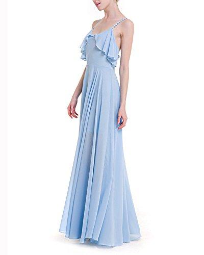 Donna Vestito da Sera di Chiffon Vestito Cinghietti Abito Lungo Doppio Strato Estivi Da Cocktail Spiaggia Azzurro