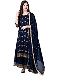 Ortange Women's Rayon Printed Kurta And Plazzo With Dupatta Set (Blue)