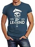 Neverless Herren T-Shirt Skull Captain Legend Totenkopf Bart Kapitän Slim Fit Denim Blue L