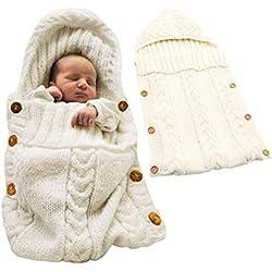 Tomwell Saco de Dormir Unisex para Bebés Recién Nacidos Manta para Bebé Carrito de Bebé Blanket Manta para 0 - 12 Meses Blanco 72X35 CM