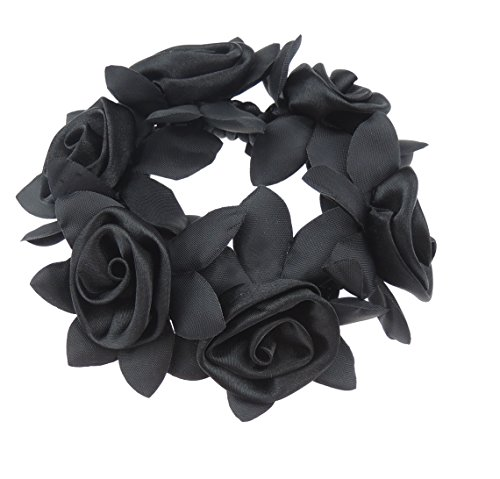 Satin Rosette Girls Ladies Bridal Bridesmaid Floral Hair Scrunchie Tie Black by Glamour Girlz (Hair Satin Extensions)