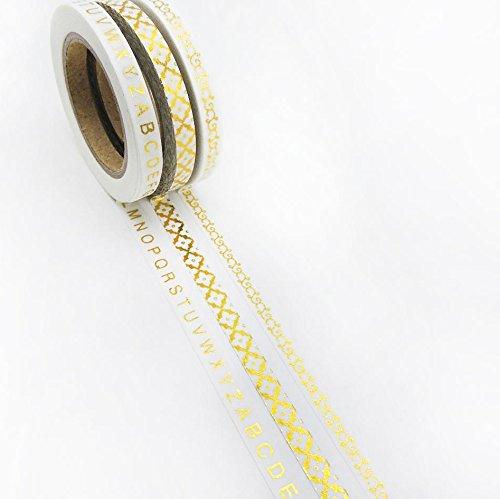 susiebsupplies 3-er Set Gold Folie, Washi Tapes, 5mm x 10m, schmal
