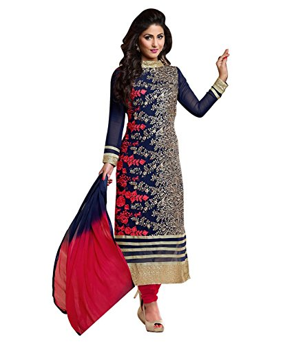 SUNSHINE Blue Color Georgette Fabric Embroidered Salwar - Suit (Semi-Stitched)( Eid Speical New Arrival Latest Best Design Beautiful Dresses Material Collection For Women and Girl Party wear Festival wear Special Function Events Wear In Low Price With High Demand Todays Special Offer and Deals with Fancy Designer and Bollywood Collection 2017 Punjabi Anarkali Chudidar Patialas Plazo pattern Suits )  available at amazon for Rs.626