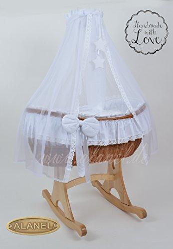 Ophelia Uno Rocker Antique White Berceau Landau Wicker Crib Berceau berceau en osier de ALANEL