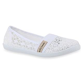 Stiefelparadies Bequeme Damen Slipper Slip-Ons Sportliche Flats Stoff Prints Glitzer Freizeit Schuhe 142481 Weiss Muster Amares 38 Flandell