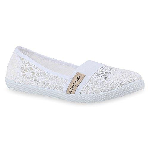 Bequeme Damen Slipper Slip-ons Sportliche Flats Stoff Prints Glitzer Freizeit Schuhe 142481 Weiss Muster Amares 37 Flandell (Ballet Flat Mädchen)