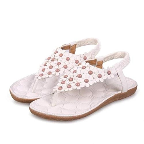 T-strap Flats Schuhe (SandalenElecenty Damen Elecenty Sandalen Schuhe Böhmen Schuh Sommerschuhe Bequeme damen Zehentrenner Sandaletten T-Strap Flats Keilabsatz Solide Sandalen Weich Flache Peep-Toe Badeschuhe (36, Weiß))