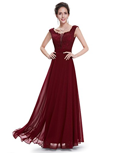Ever Pretty Robe de Soiree Maxi Elegante Col Rond 08628 Bordeux