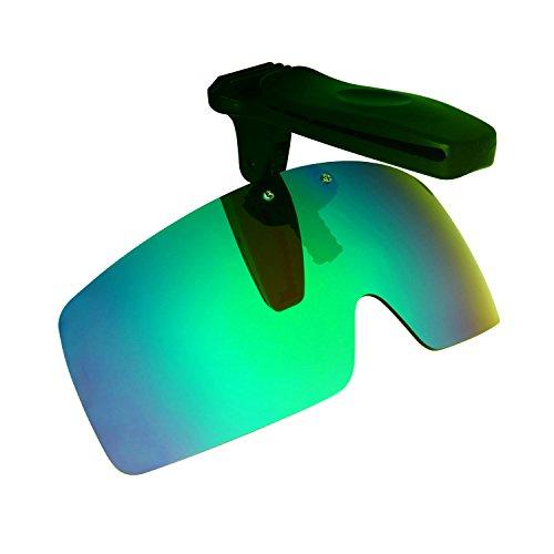 HKUCO Verstärken Sonnenbrille Clip Grün Polarisiert Lenses Hat Visors Clip-on Sonnenbrille Zum Fishing/Biking/Hiking/Golf UV400 Protect