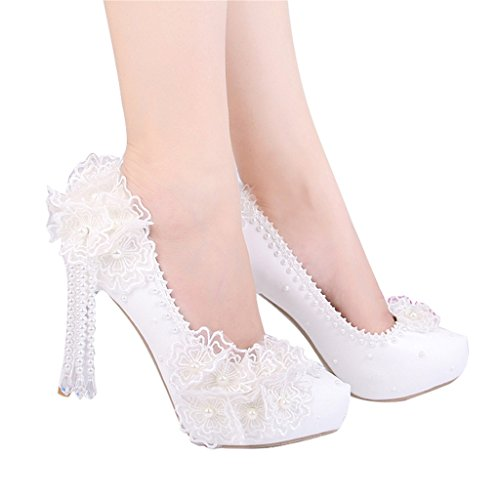 Damenschuhe Chinese Pearl High mit einem einzigen Schuh Brautschuhe Hochzeitsschuhe (mit hohem: 10cm) (Farbe : Weiß, größe : 37-Shoes long235mm)