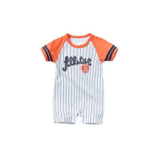 NaiCasy Baby-Overall Sommer-Kind-Spielanzug Boy Bodysuits Neugeborener Jumper Playsuit Baby Outfits für Baby (orange Kurze Ärmel, 73cm / 29in)