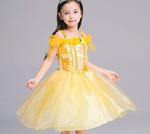 Mädchen Drop Schulter Prinzessin Kostüm, Cosplay Halloween Geburtstag Party Kleid Fancy Kleid (Kostüm Kids Belle Für Halloween)