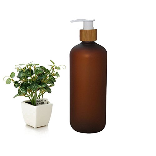 500ml 17oz Dark Brown Empty Refillable Frosted Plastic Shampoo Shower Gel Packing Bottle Container Jar with Natural Bamboo Pump for Makeup Cosmetic Bath Soap Liquid Toiletries
