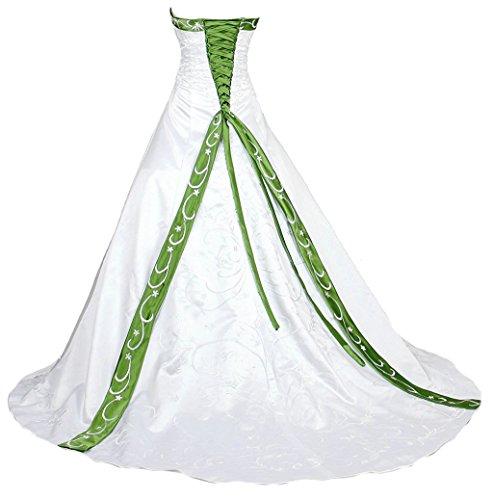Vantexi Damen A-Linie Stickerei Hochzeitskleid Brautkleider Weiß Grün Größe 52