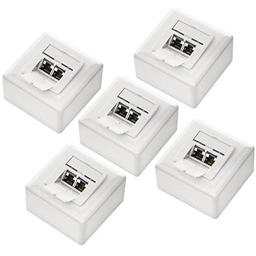 deleyCON 5X CAT 6 Universal Netzwerkdose als Set - 2X RJ45 Port - Geschirmt - Aufputz oder Unterputz - 1 Gigabit Ethernet Netzwerk - EIA/TIA 568B - Weiß