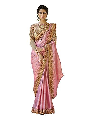 Kjp Villa Women\'s Chinon Silk Pink Free Size embroidery Saree With Blouse Pics (zeel saree-313)